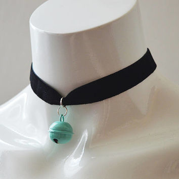 Kitten play day choker - velvet ribbon - with pastel blue turquoise bell - kittenplay ddlg cute necklace for everyday wearing