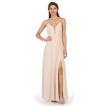 Corset Lace-Up Back A-Line Long Formal Dress Champagne