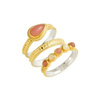 Anna Beck Guava Quartz & Moonstone Set of 3 Stacking Rings | Nordstrom