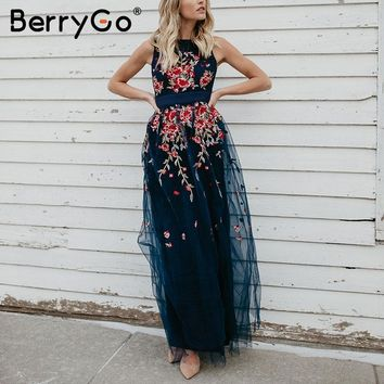 BerryGo Elegant mesh overlay long dress women Stretch sleeveless vest maxi dress summer Embroidery sexy dress robe femme 2018