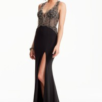 Illusion Beaded Dress with Side Slit