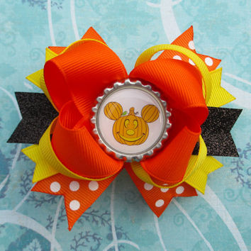 SALE Mickey Mouse Halloween hair bow Pumpkin headband Disney hair clip spooky cute girls hair clip polka dots
