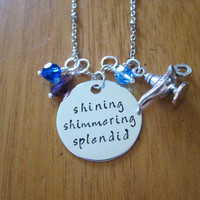 "Aladdin Inspired Necklace ""Shining Shimmering Splendid"" Aladdin & Princess Jasmine. A Whole New World. Hand Stamped, Swarovski crystals."