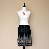 Black Mini Skirt: Short Boho Gypsy Skirt, Bohemian Indian Floral Cover Up with Lavender Purple Flowers