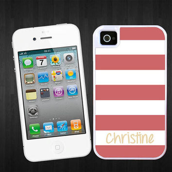Personalized iPhone 5 case - Nautical coral stripes Beach stripes - monogram Iphone 4 cover plastic silicone iphone 5 protective