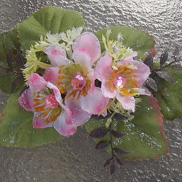 Large Pink Blossom Barrette Hair Clip with Green Leaves