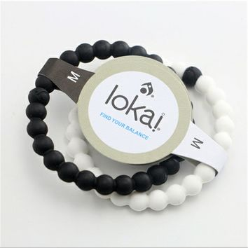 2 color 1pcs Silicone Lokai Bracelet Fashion Shark Lokai Silicone Beads Balance Bracelets for Men and Women Energy Bracelet DIY