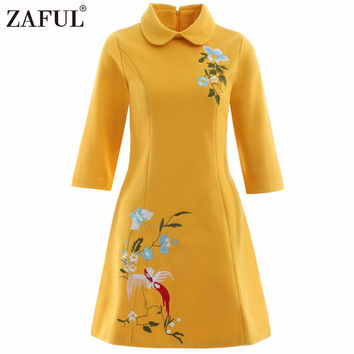 ZAFUL Winter Spring Vintage Women Dress feminino Rockabilly Retro Embroidery Black pocket Floral Party short Dresses Vestidos