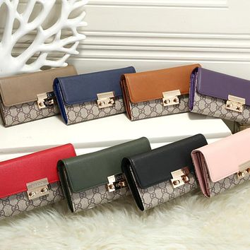 """""""Gucci"""" Fashion All-match Double G Letter Embossed Twill Metal Lock Messenger Bag Women Clutch Handbag Small Bag"""