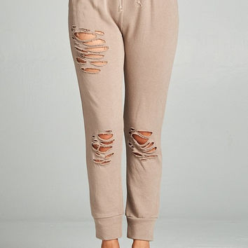 Distressed French Terry Jogger Pants - Nude