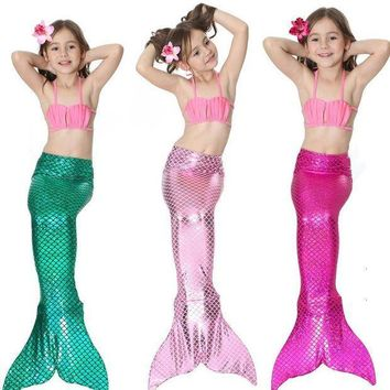 ESBON 2017 Children Girls Mermaid Tail Costume Cosplay Color Baby Kid Mermaid Tails Bikini Swimming Mermaid Swimsuit Set M003