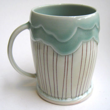 MADE TO ORDER Rain Cloud Porcelain Mug Teal and Red
