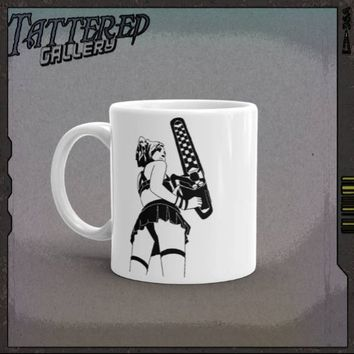 STEAM PUNKED LEATHERFACE.  texas chainsaw beauty queen in all her anarchistic glory mug