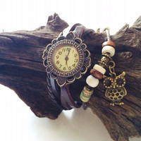 Leather Watch Wrap Bracelet with owl charm leather multi strand wristband watch Ship from Canada