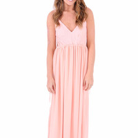 Edgy Elegance Maxi Dress - Blush