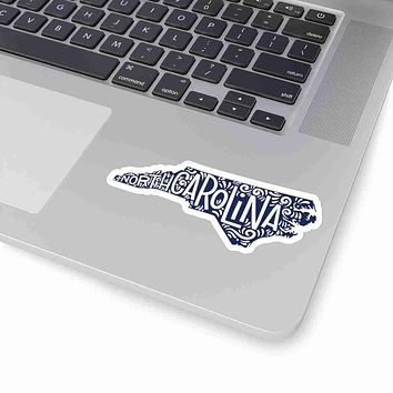 North Carolina State Shape Sticker Decal - Dark Blue