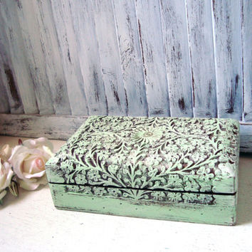 Mint Ornate Jewelry Box, Carved Wooden Jewelry Holder,  Bright Mint Trinket Box, Gift Ideas, Shabby Chic Jewelry Box