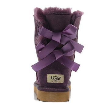 UGG Women Bow Fur Leather Boots In Tube Boots Shoes-2