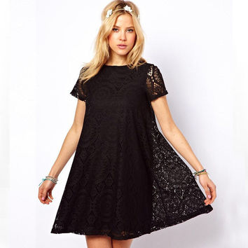 Lace Short-Sleeve Circle Dress