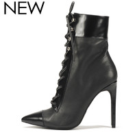Jeffrey Campbell: Elphaba Black Patent Combo Lace up Bootie