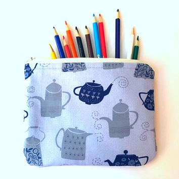 Tea Zipper Pouch, Teapot Zipper Bag, Laptop Cord Pouch, Charger Bag, Cosmetic Bag, Travel Bag, Toiletry Bag, Zipper Case, Tea Zipper Pouch