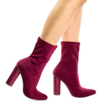 Elssa1 Burgundy By X2B, Pointed Toe Ankle booties W Stretchy Upper & Rounded Block Heel