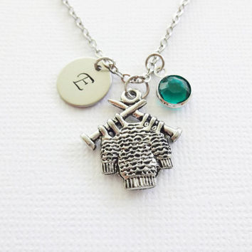 Knitted Sweater Pewter Necklace Knitting Needles Yarn Crochet Jewelry Swarovski Birthstone Silver Initial Personalized Monogram Hand Stamped