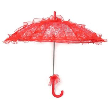 Lace Parasol Wedding Lace Flower Wedding Bride Parasol Umbrella red