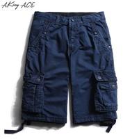 ACE Quality Men's cargo shorts military Draped loose shorts overalls for summer Big multi Pockets baggy shorts