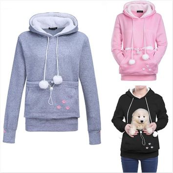 Women Pullover Hoodies With Cat Dog Pet Holder, Unisex Big Kangaroo Jacket Pouch Carriers Winter Long Sleeve Maternity Sweater