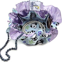 Drawstring Travel Jewelry Pouch / Satchel - Medium - Panda Bears with Lavender Satin