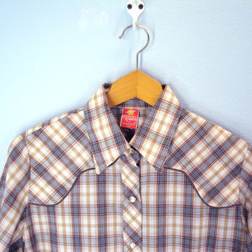 70s WESTERN blouse women's pearl snap shirt plaid thin soft cowgirl country