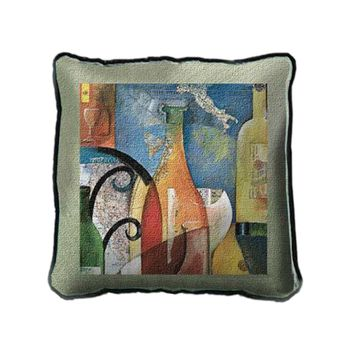 Fine Art Tapestries Home Decorative Vino Cotton Pillow