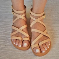 """Sexy beige sandals """"Belladonna"""" in Spartan design. Ideal gift for your girlfriend for spring and summer"""