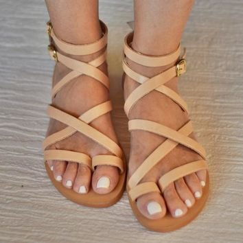 "Sexy beige sandals ""Belladonna"" in Spartan design. Ideal gift for your girlfriend for spring and summer"