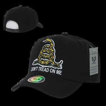 Rattlesnake Hat Ball Cap Don't Tread On Me Caps, Black A02