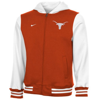 Nike Texas Longhorns Youth Varsity Full Zip Hooded Jacket - Burnt Orange