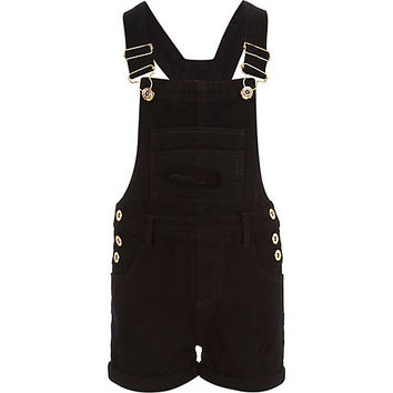 River Island Girls black twill overalls