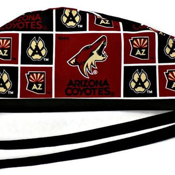 Men's Unlined Surgical Scrub Hat Cap in Arizona Coyotes