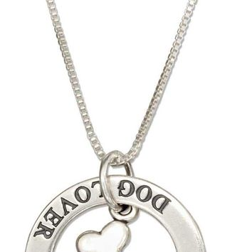 """Sterling Silver 18"""" """"dog Lover"""" Washer Pendant Necklace With Dog Bone"""