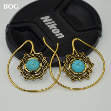 Gold Brass Mandala Flower With Stone Earrings Hoop Indian Fashion Ear Hanger Weight Percing Body Jewelry 14g