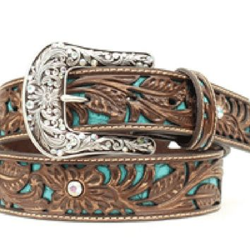 Ariat Women's Tooled Turquoise Leather Inlay Belt - A1513402