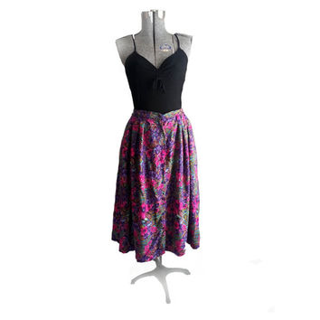 Vintage Bright Floral Skirt -90s floaty Broomstick skirt festival queen hipster ankle length grunge clueless pink purple Comfortable summer