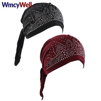 WmcyWell Breathable Bandana Scarf Pre Tied Cotton Elastic Chemo Hat Beanie Turban Head Cap With Hot Drilling Headwear Hat