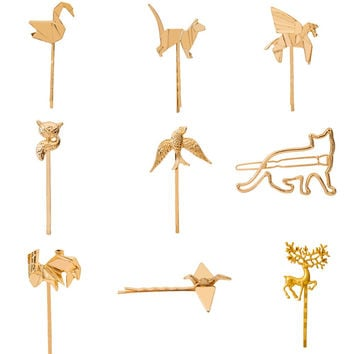 Birds Horse Swan Fox Deer Rabbit Animal Hair Clip and Pins Gold Plated Silver Plated Hairgrips for Girls Women Headwear