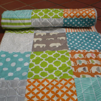Modern Baby quilt,grey,burnt orange,teal,lime,baby boy quilt,woodland,rustic,organic,baby girl bedding,toddler,elephant,chevron,El Safari
