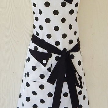 Polka Dot Full Apron / Retro Inspired White and Black Vintage Style Apron / Rockabilly / Eclectasie