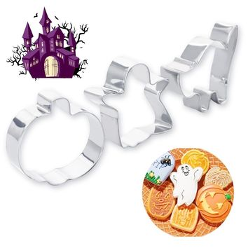 3pcs/Lot  Halloween Series Pumpkin Cats Shape Cookie Cutters Stainless Steel Cake Stencil Biscuit Chocolate Mold Kitchen