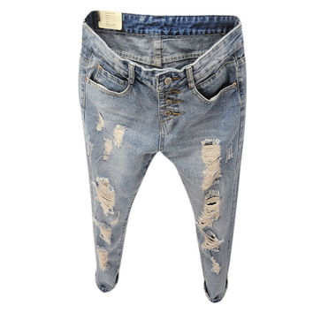 Summer Style Women Jeans ripped Holes Harem Pants Jeans Slim  vintage boyfriend jeans for women