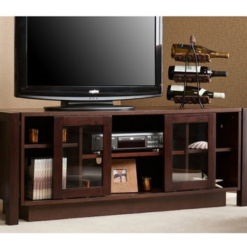 Espresso TV Stand Accommodates Flat Screen TVu0027s Up To 50 Inches